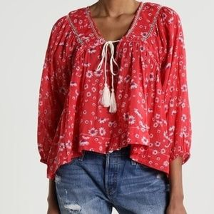 Free People Never a Dull Moment Red Boho Top M